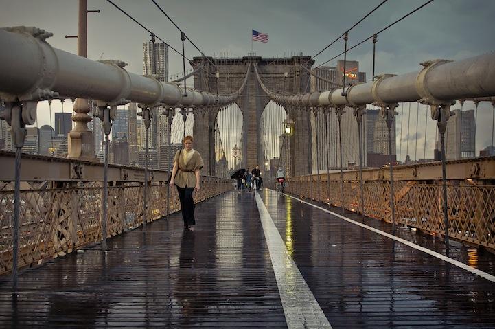 Brooklyn bridge after the rain at sunset, New York