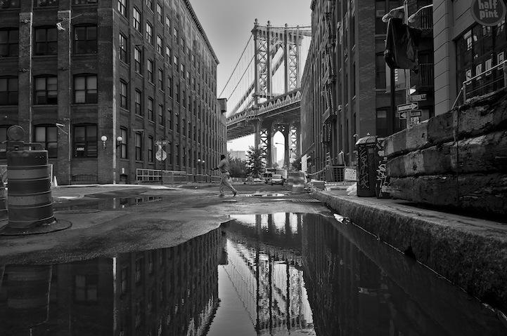 Reflection on Washington Street, DUMBO, Brooklyn