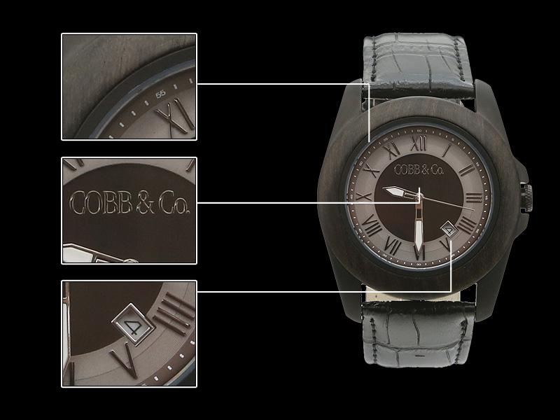 black-ebony-leather-wood-watch-details
